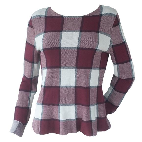 Ann Taylor Cranberry Plaid Peplum Knit Sweater Top